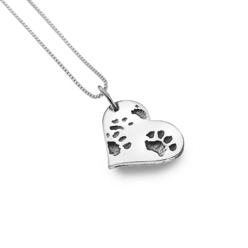 Paw Print Heart Pendant Sterling Silver Hallmarked Necklace All Chain Lengths